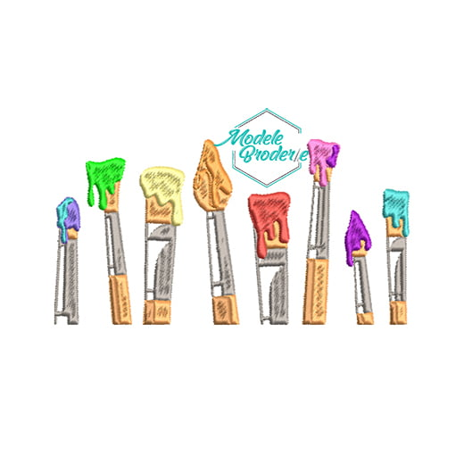 Model broderie pensule colorate