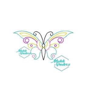 Model broderie fluture colorat
