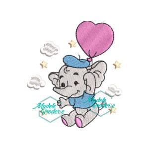 Model broderie Elefantel cu balon MBR337
