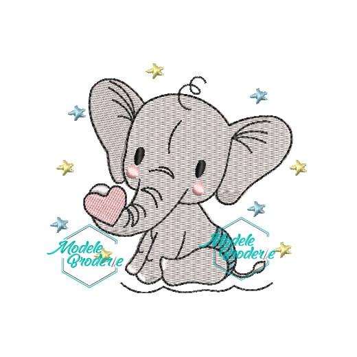 Model broderie Elefantel cu inimioara MBR336