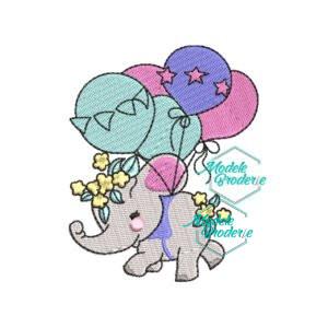 Model broderie Elefant cu baloane MBR338